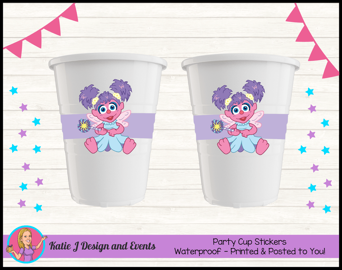 Abby Cadabby Personalised Birthday Party Cup Stickers Cups