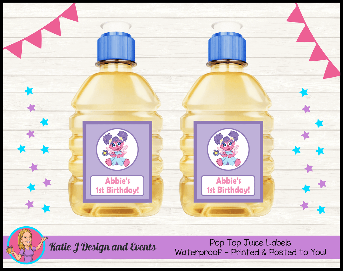 Abby Cadabby Personalised Birthday Party Pop top juice labels