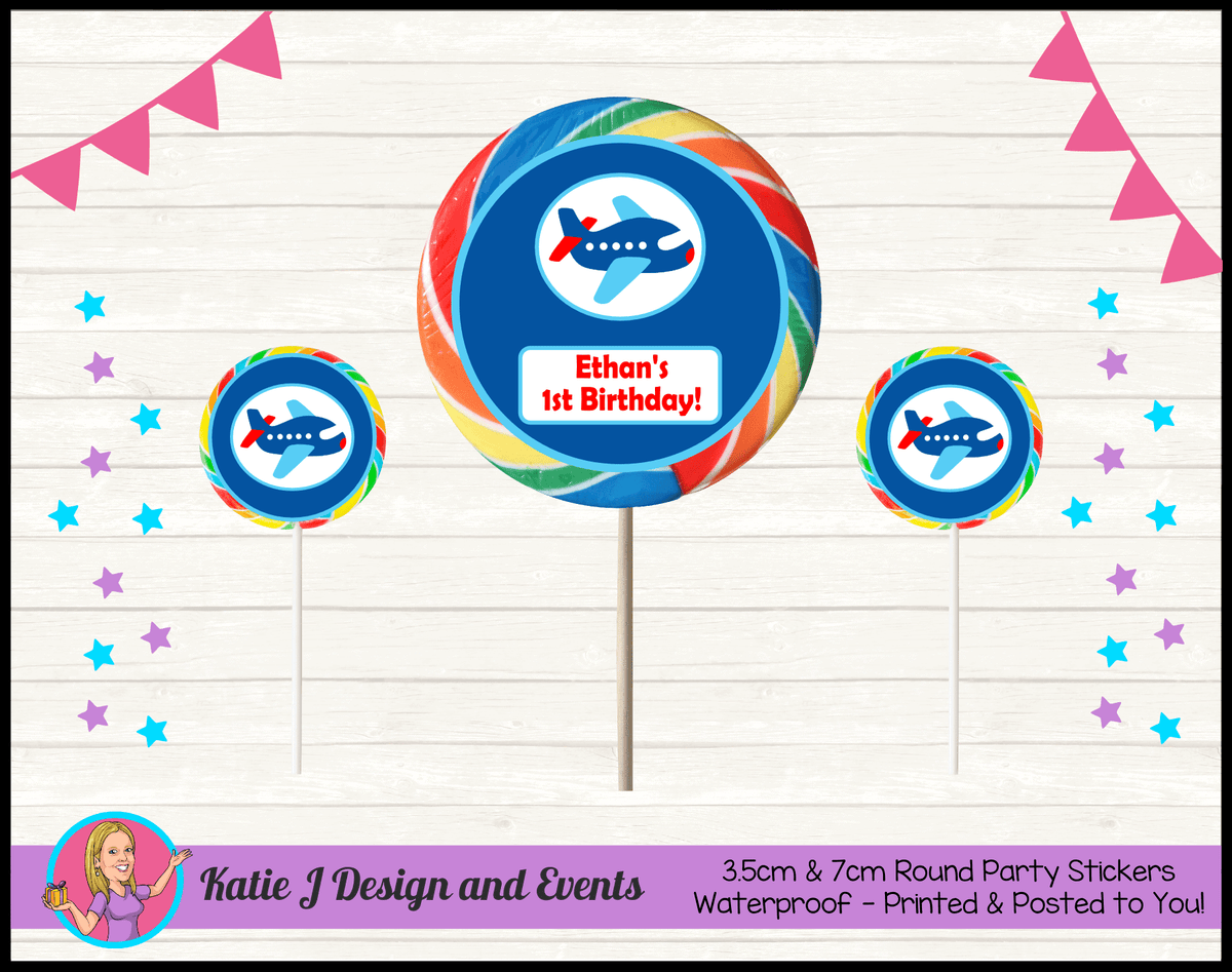 Airplane Plane Personalised Birthday Party Round Lollipop Stickers
