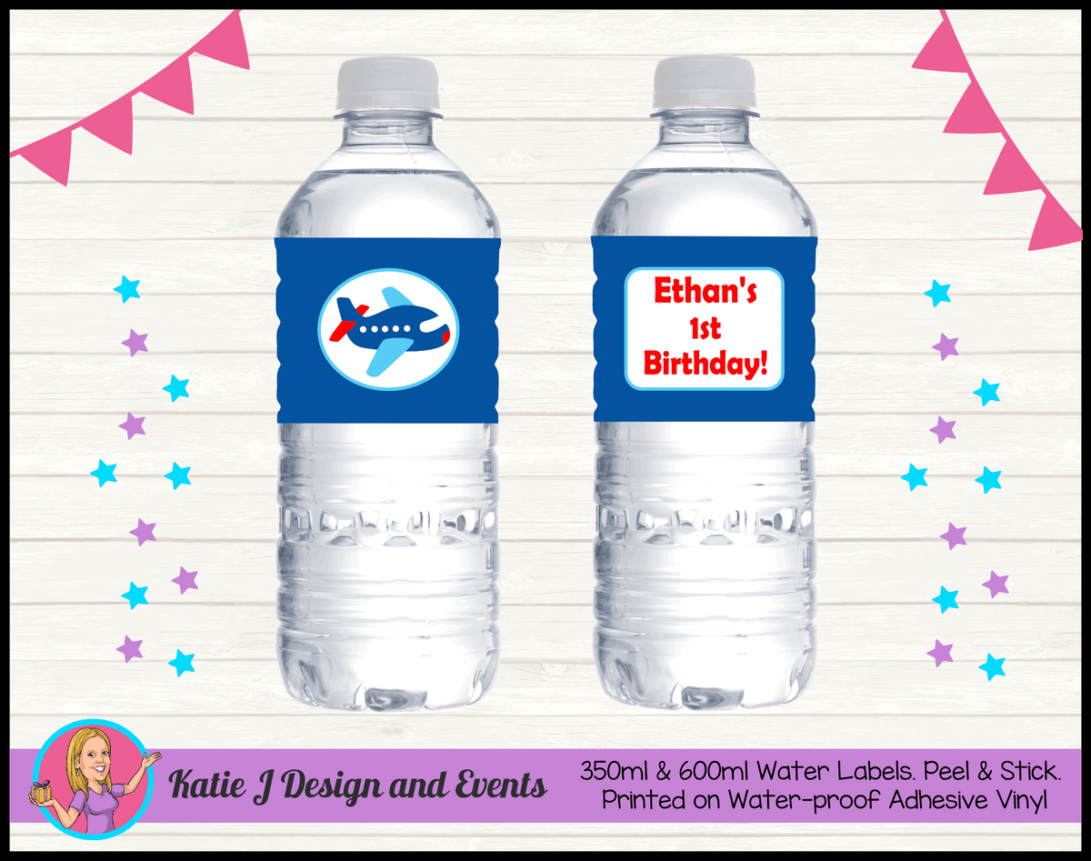 Airplane Plane Personalised Birthday Party Water Bottle Labels Stickers