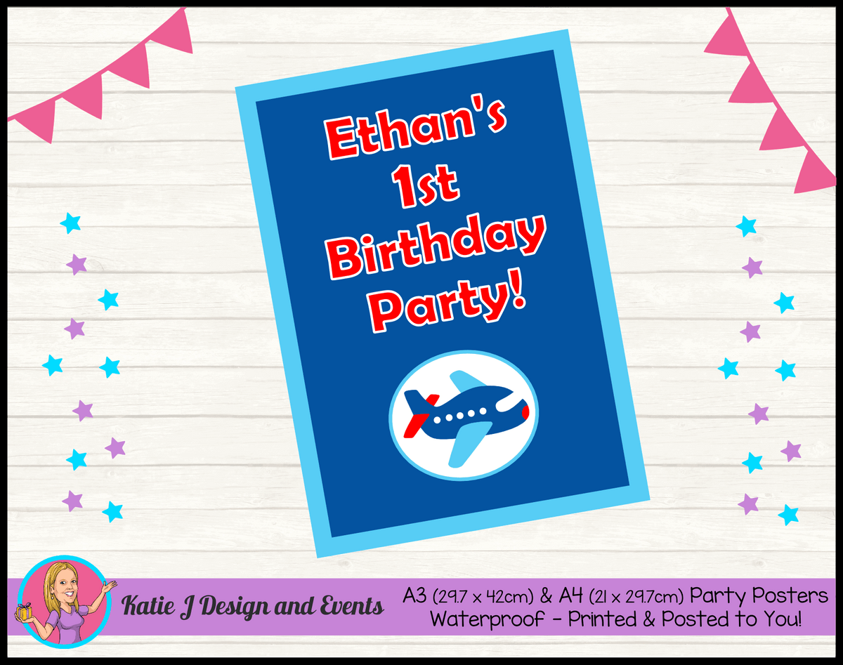Airplane Plane Personalised Birthday Party Posters