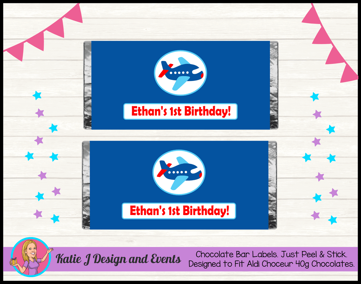 Airplane Plane Personalised Birthday Party Aldi Chocolate Wrappers Labels