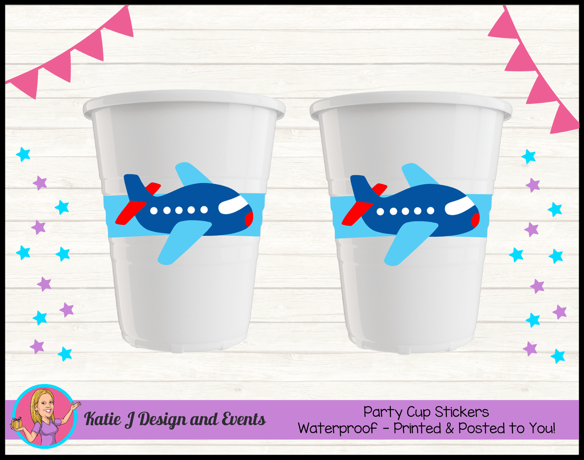 Airplane Plane Personalised Birthday Party Cup Stickers Cups