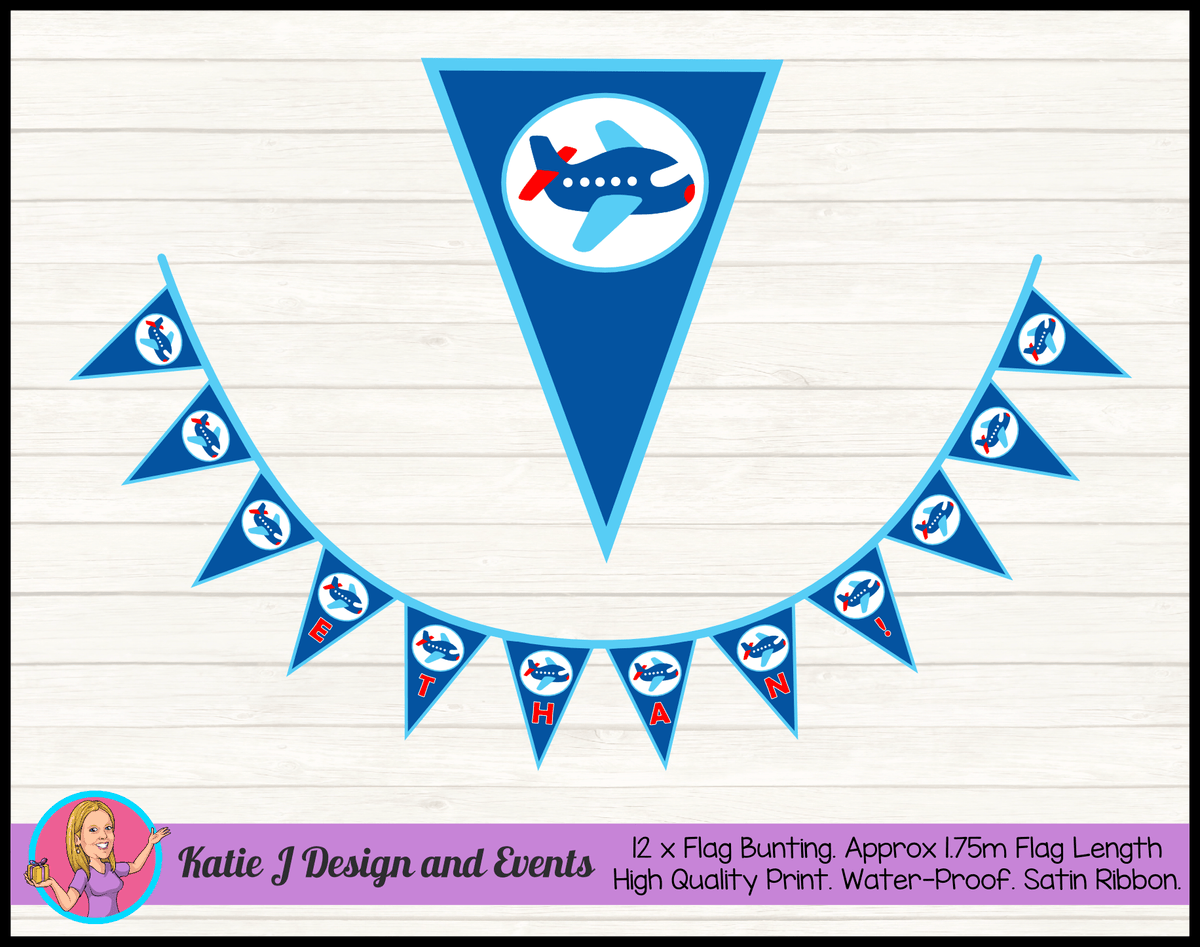 Airplane Plane Personalised Birthday Party Flag Bunting