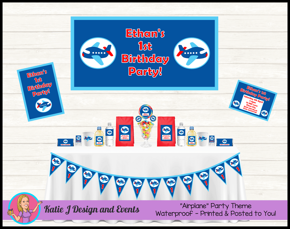 Airplane Plane Personalised Party Packs Decorations Supplies