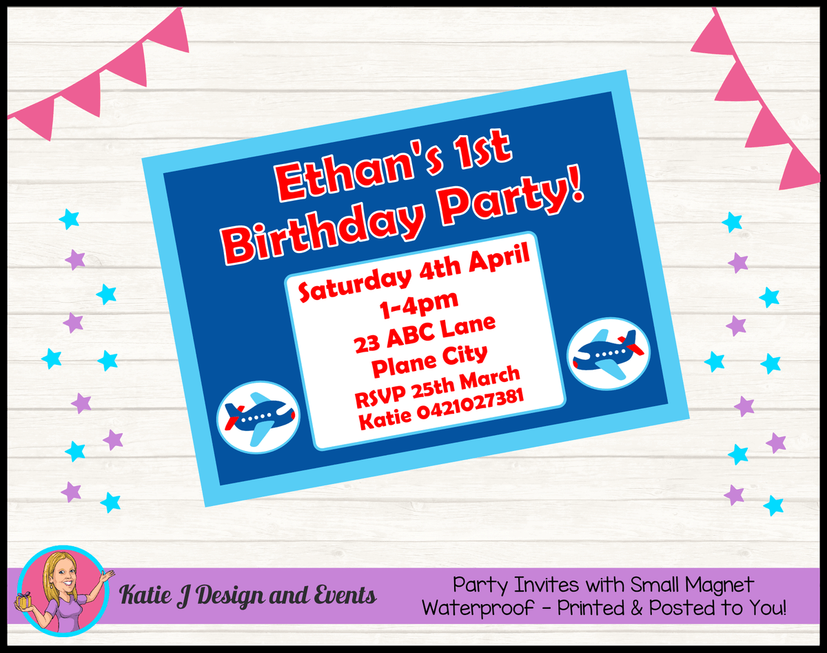 Airplane Plane Personalised Birthday Party Invites Invitations