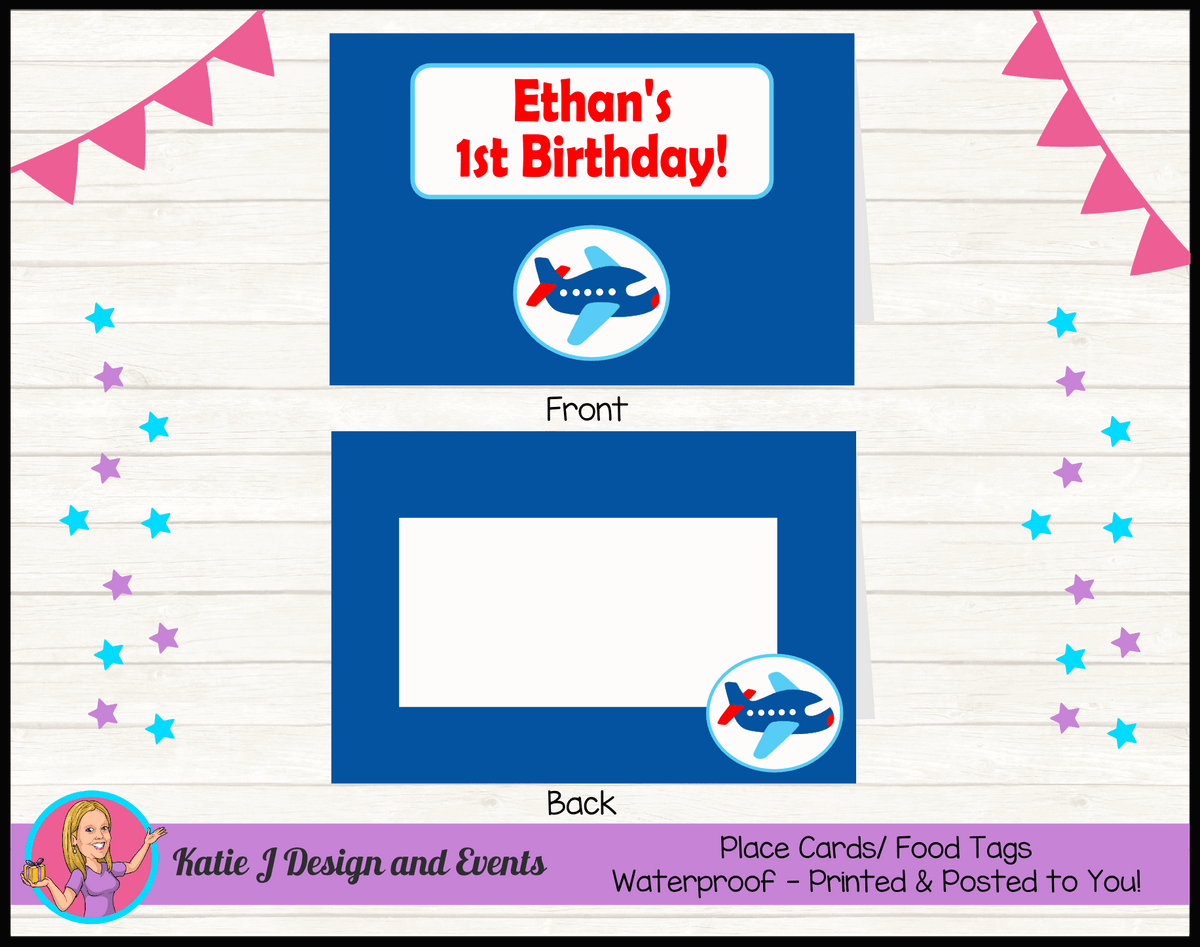 Airplane Plane Personalised Birthday Party Place Cards