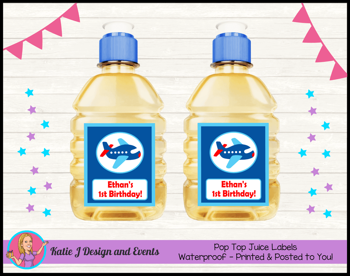 Airplane Plane Personalised Birthday Party Pop Top Juice Labels