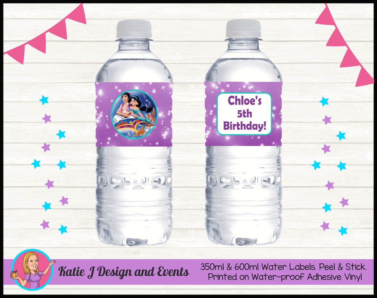 Aladdin Personalised Birthday Party Water Bottle Labels Stickers