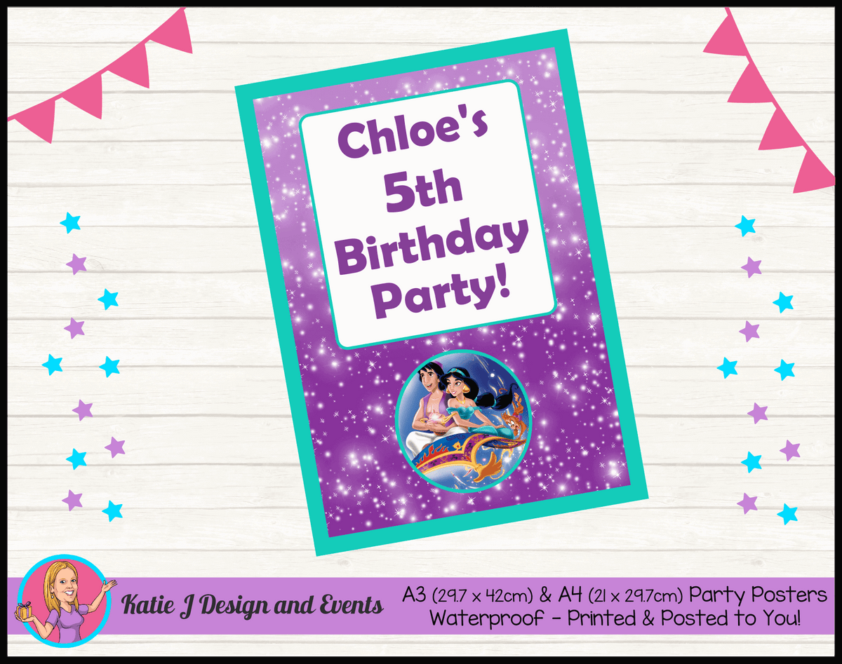 Aladdin Personalised Birthday Party Posters