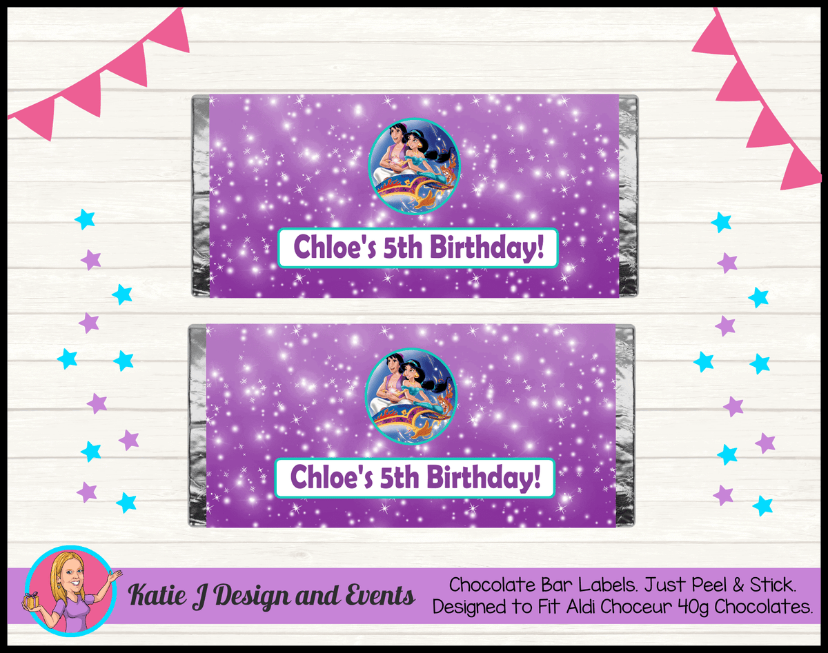 Aladdin Personalised Birthday Party Aldi Chocolate Bar Wrappers Labels