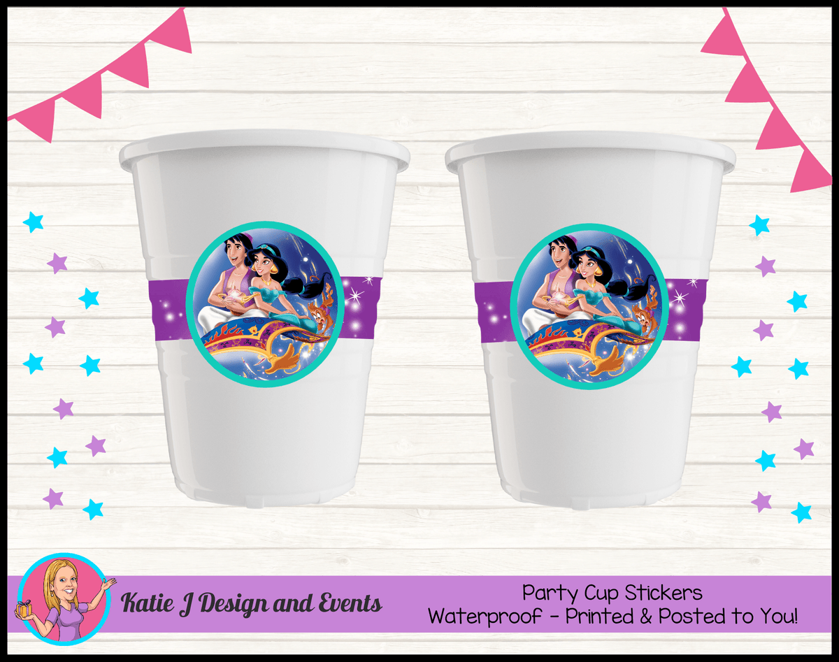 Aladdin Personalised Birthday Party Cup Stickers