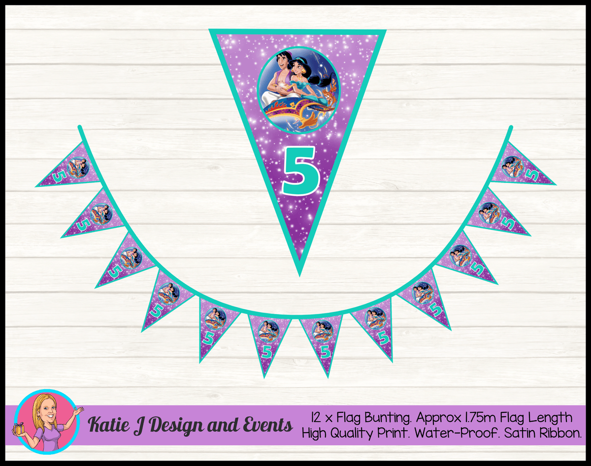 Aladdin Personalised Birthday Party Flag Bunting