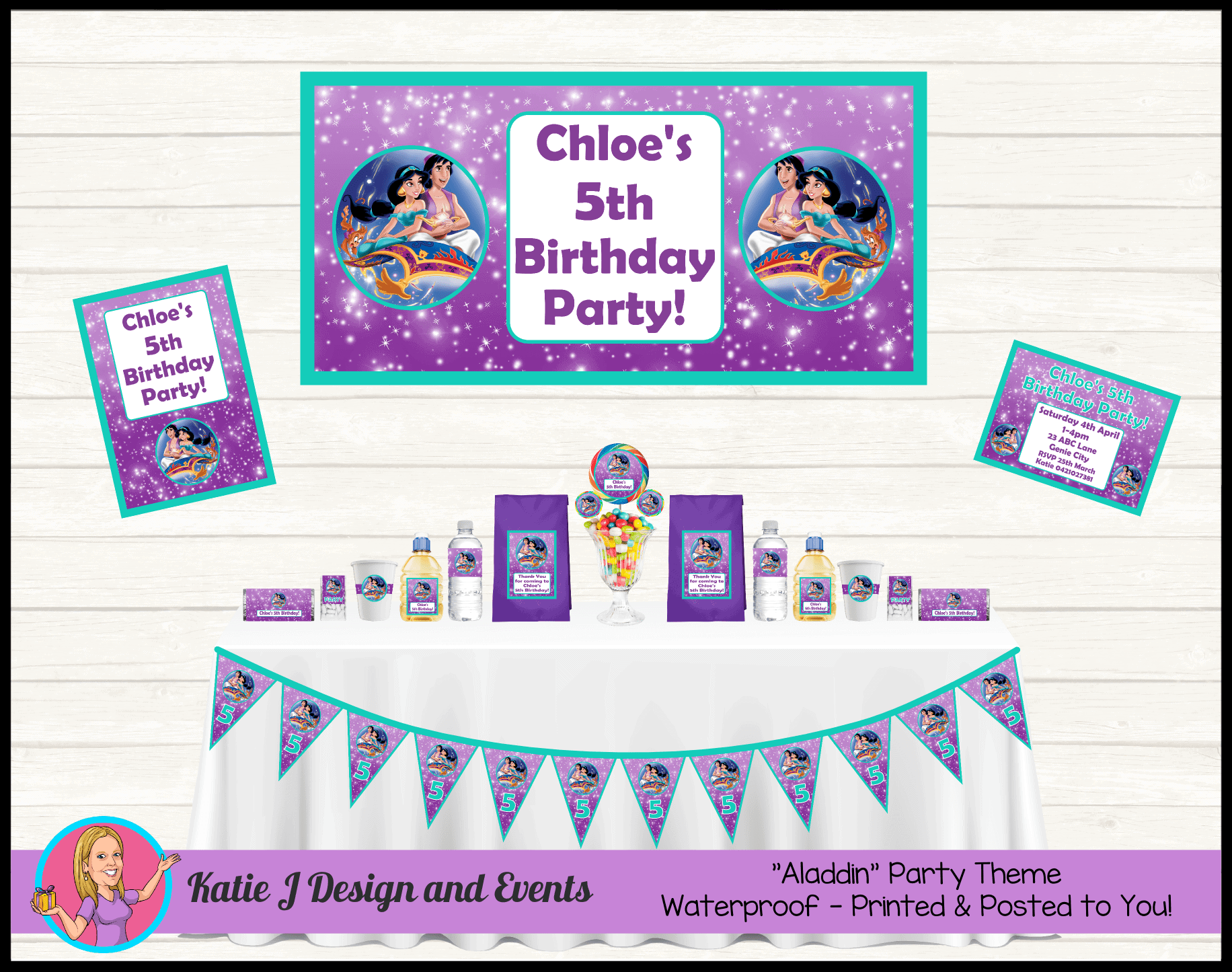 Aladdin Personalised Party Packs Decorations Supplies
