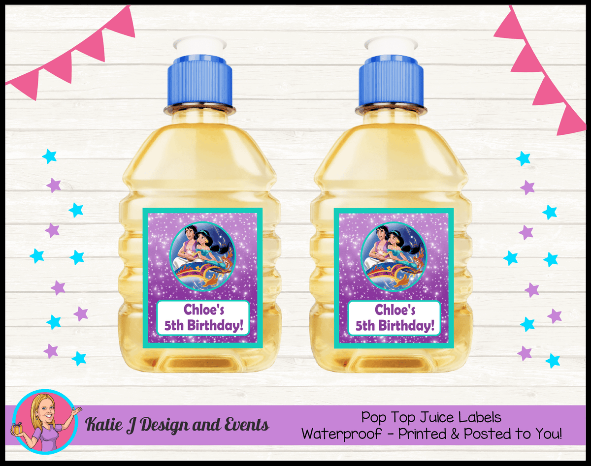 Aladdin Personalised Birthday Party Pop Top Juice Labels