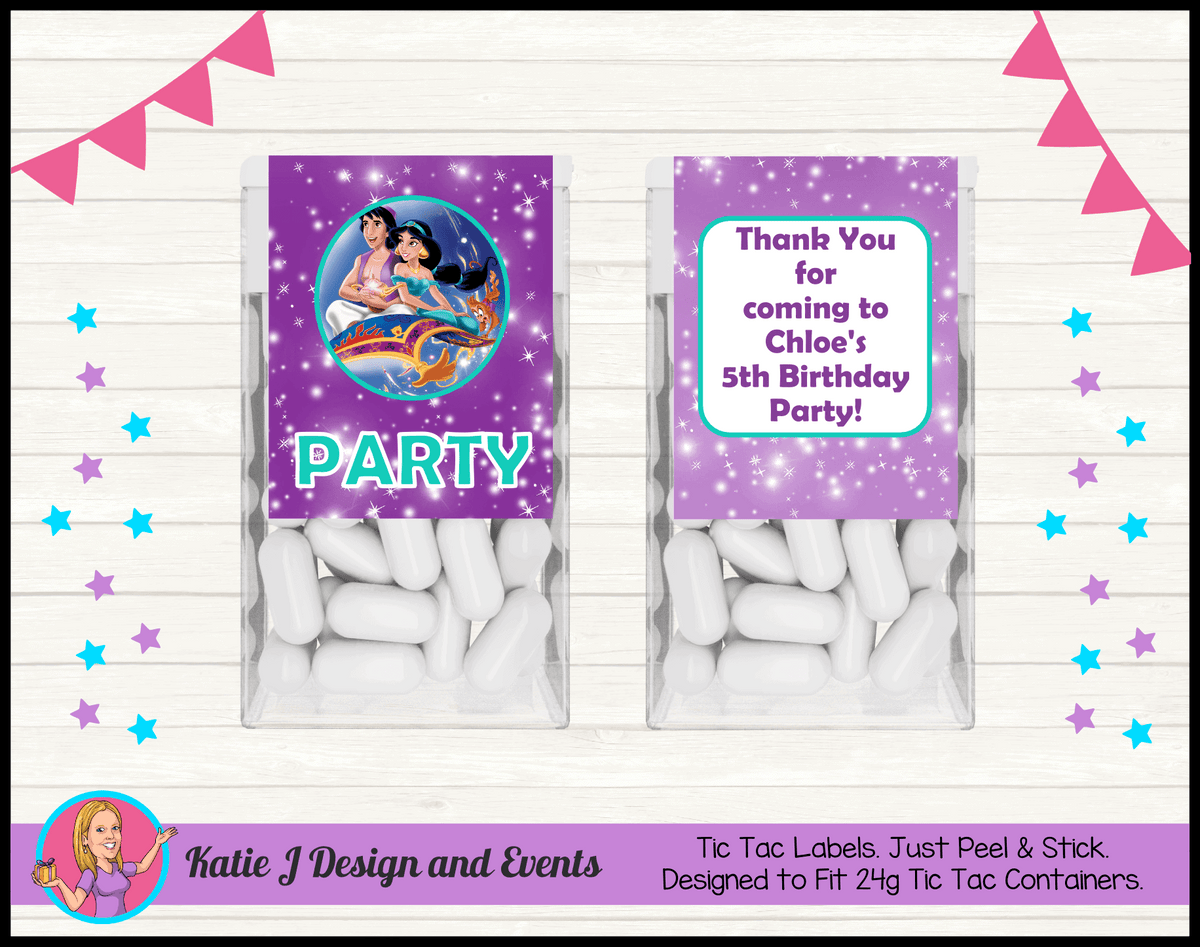 Aladdin Personalised Birthday Party Tic Tac Mint Labels