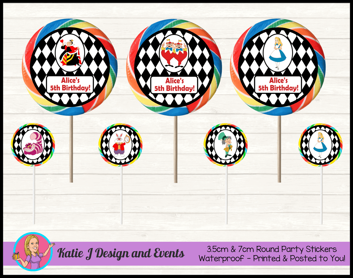 Alice in Wonderland Personalised Birthday Party Round Lollipop Stickers