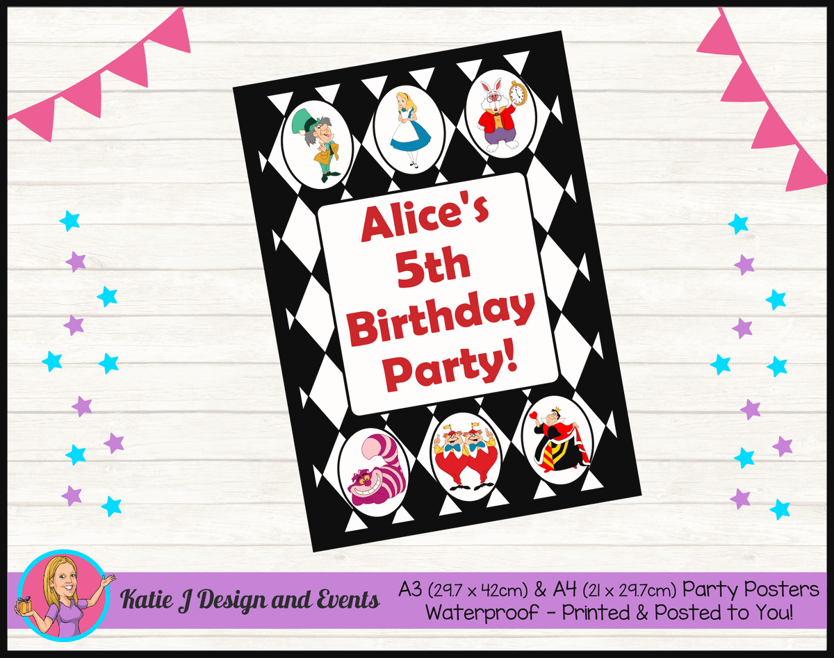Alice in Wonderland Personalised Birthday Party Posters