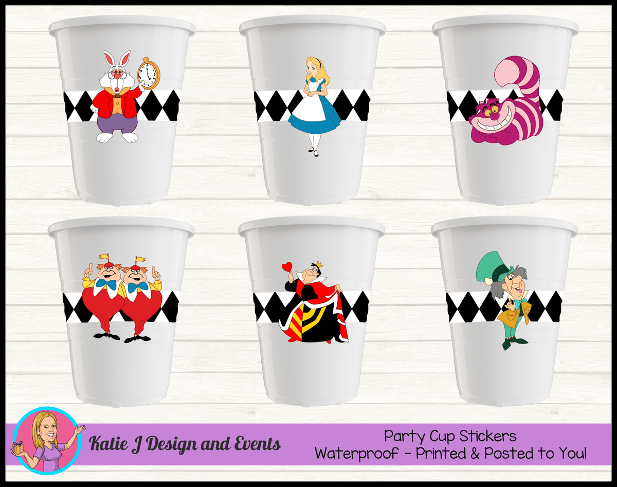Alice in Wonderland Personalised Birthday Party Cup Stickers Cups