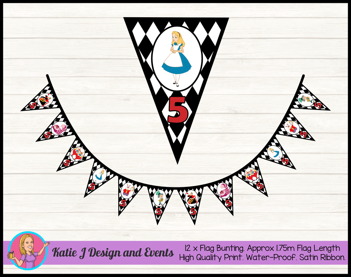 Alice in Wonderland Personalised Birthday Party Flag Bunting
