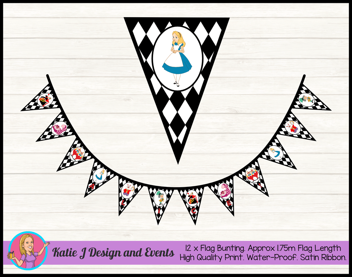 Alice in Wonderland Personalised Birthday Party Flag Bunting Name
