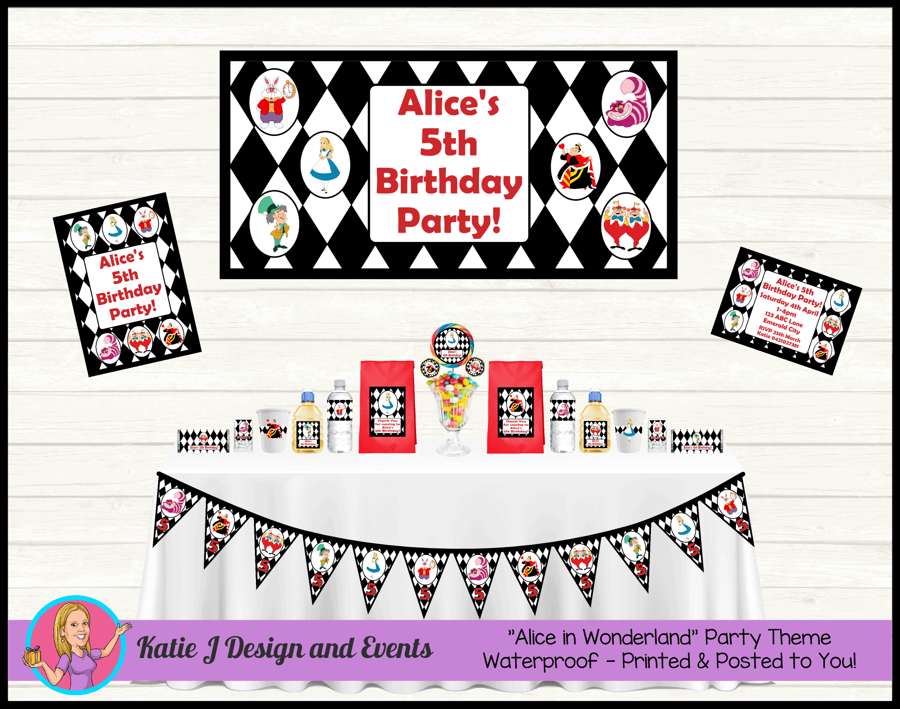 Personalised Alice In Wonderland Birthday Party Decorations Katie J Design And Events