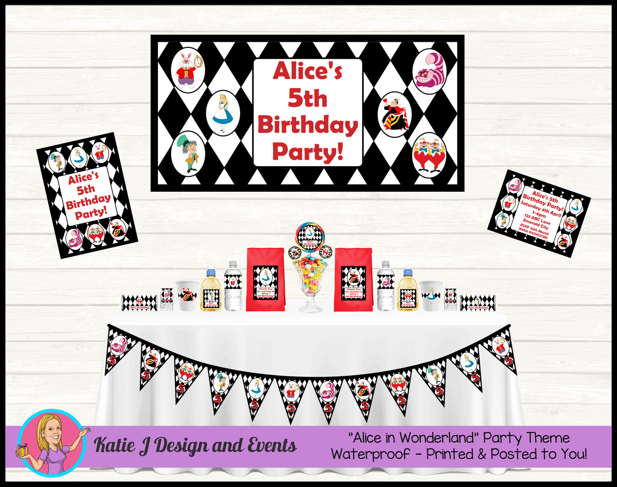 Alice in Wonderland Personalised Party Packs Decorations Supplies