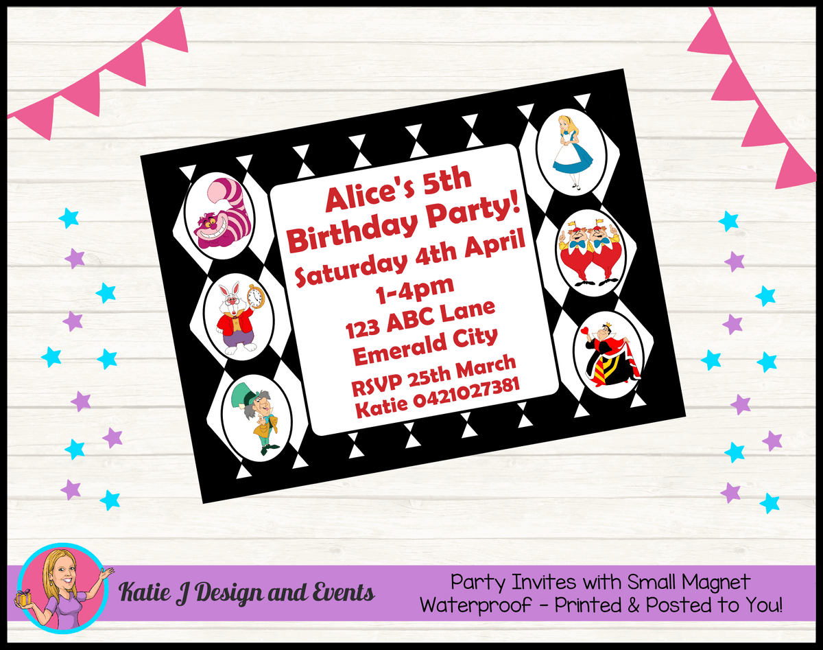 Alice in Wonderland Personalised Birthday Party Invites Invitations