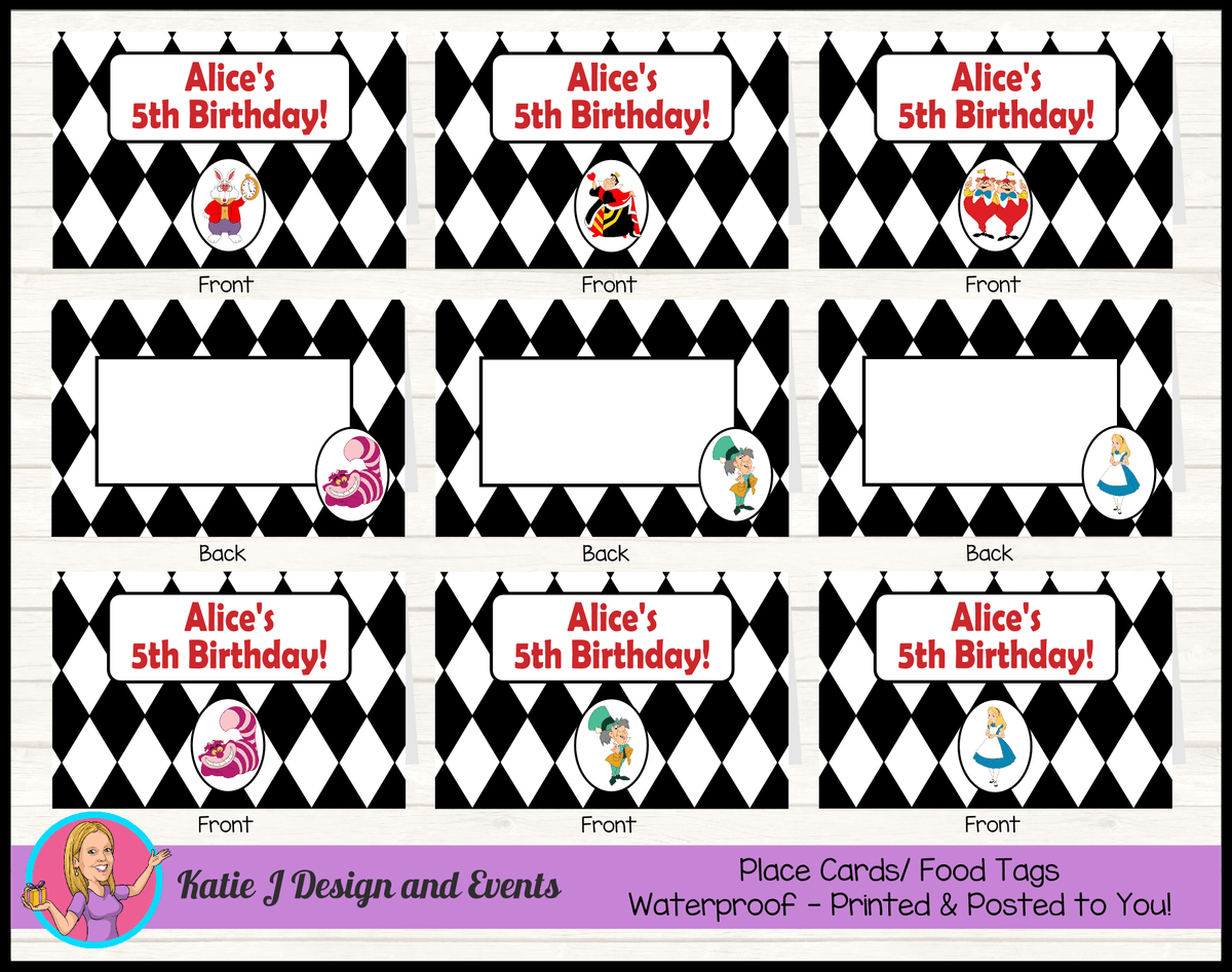 Alice in Wonderland Personalised Birthday Party Place Cards