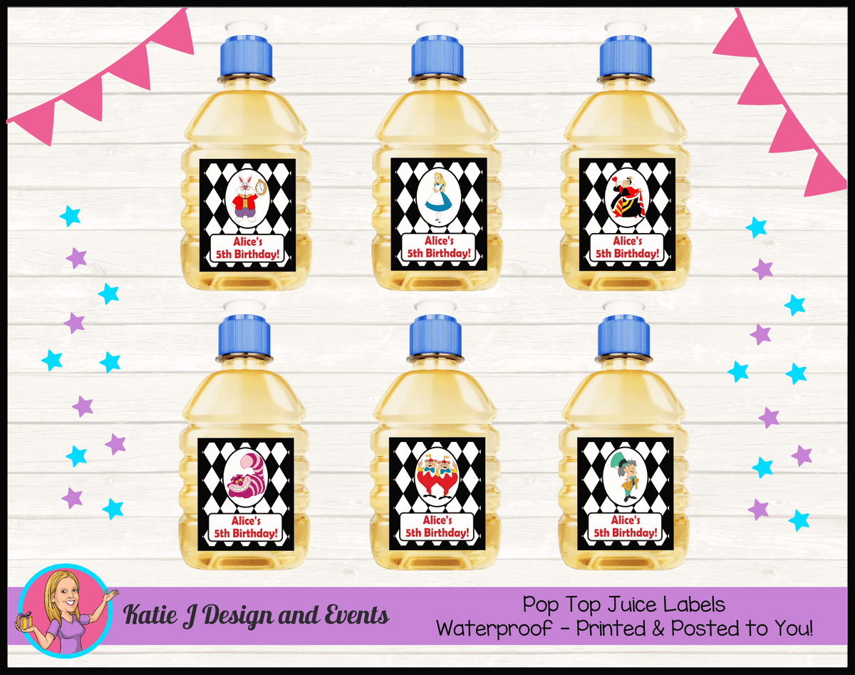 Alice in Wonderland Personalised Birthday Party Pop Top Juice Labels