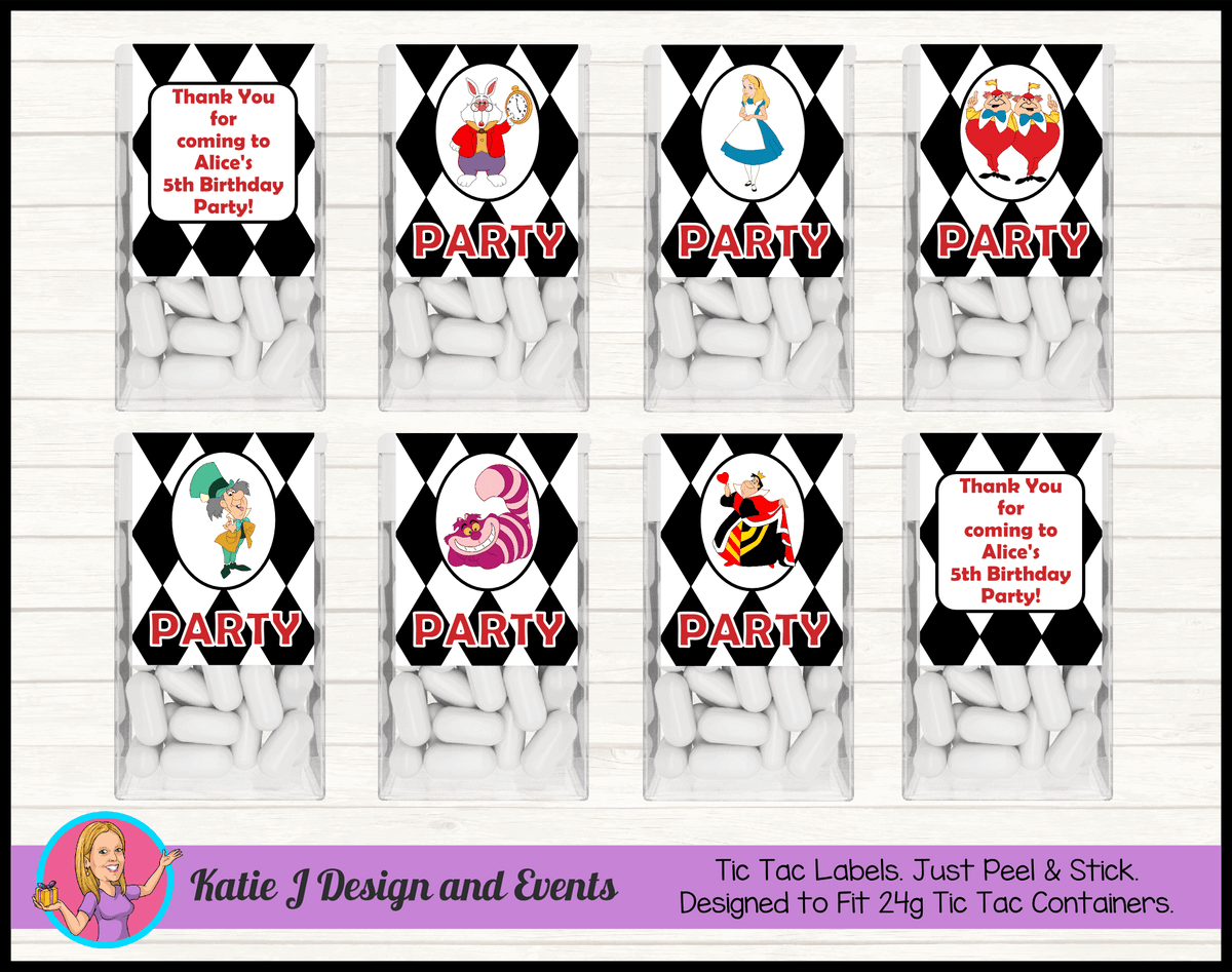 Alice in Wonderland Personalised Birthday Party Tic Tac Mint Labels