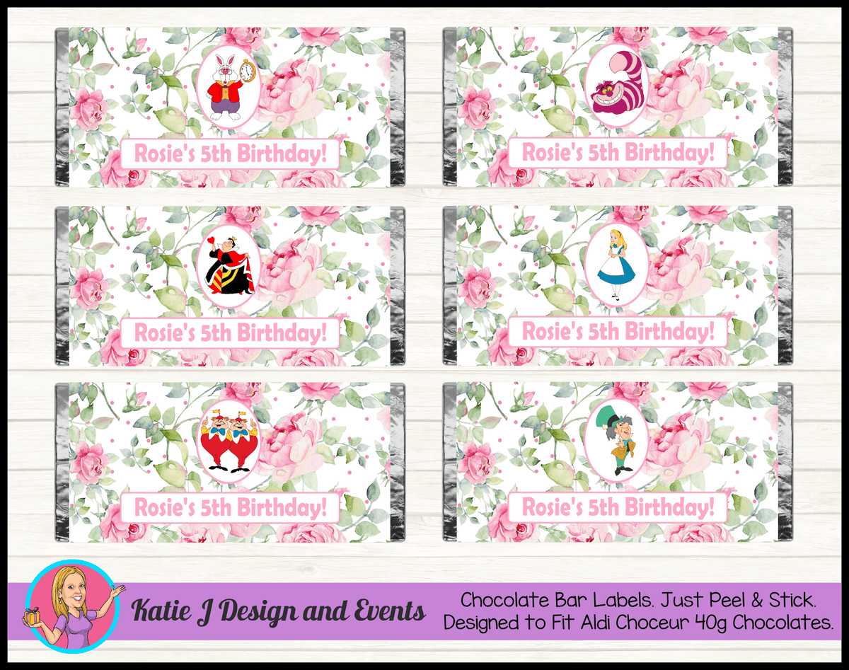 Alice in Wonderland Tea Party Personalised Birthday Mini Aldi Chocolate Wrappers Labels