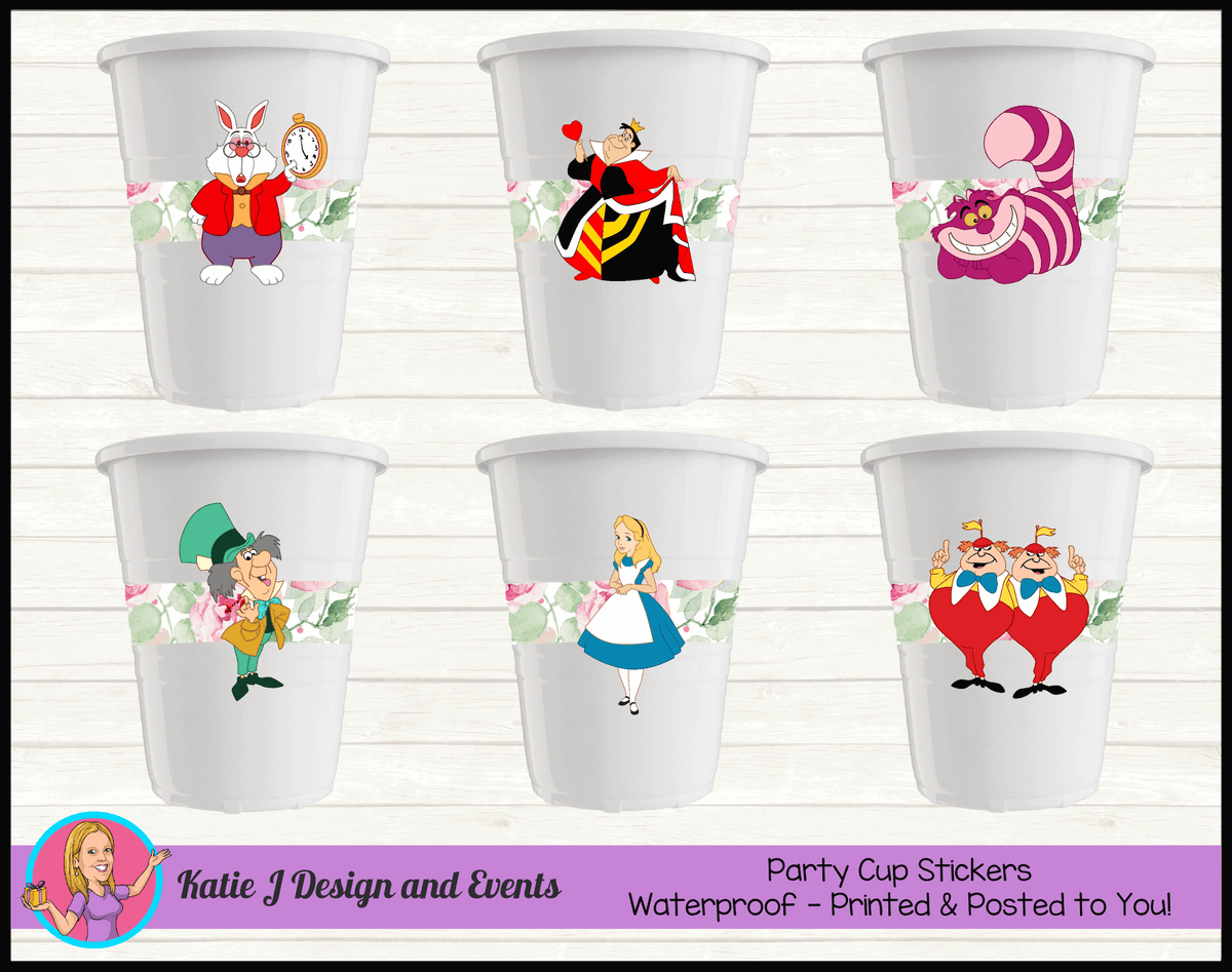 Alice in Wonderland Tea Party Personalised Birthday Cup Stickers Cups