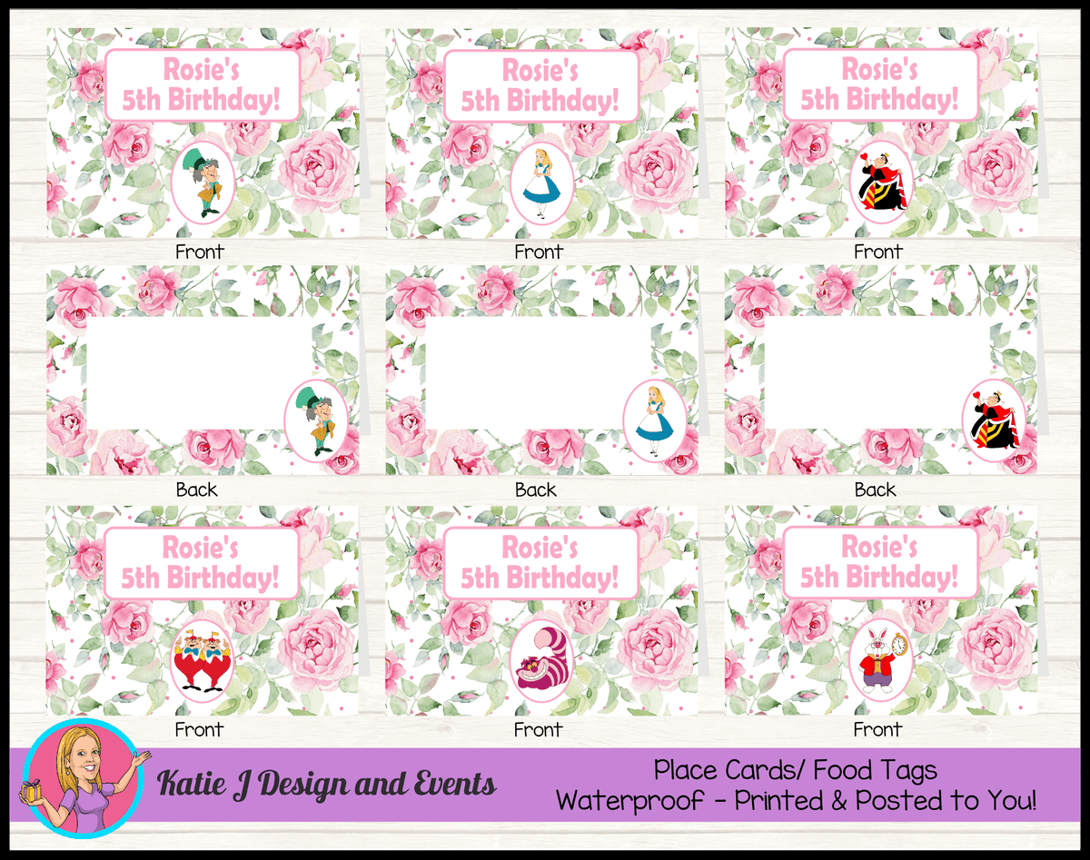 Alice in Wonderland Tea Party Personalised Birthday Place Cards