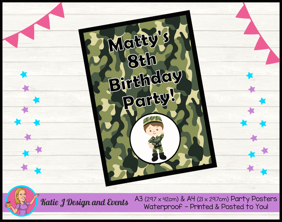 Army Personalised Birthday Party Posters