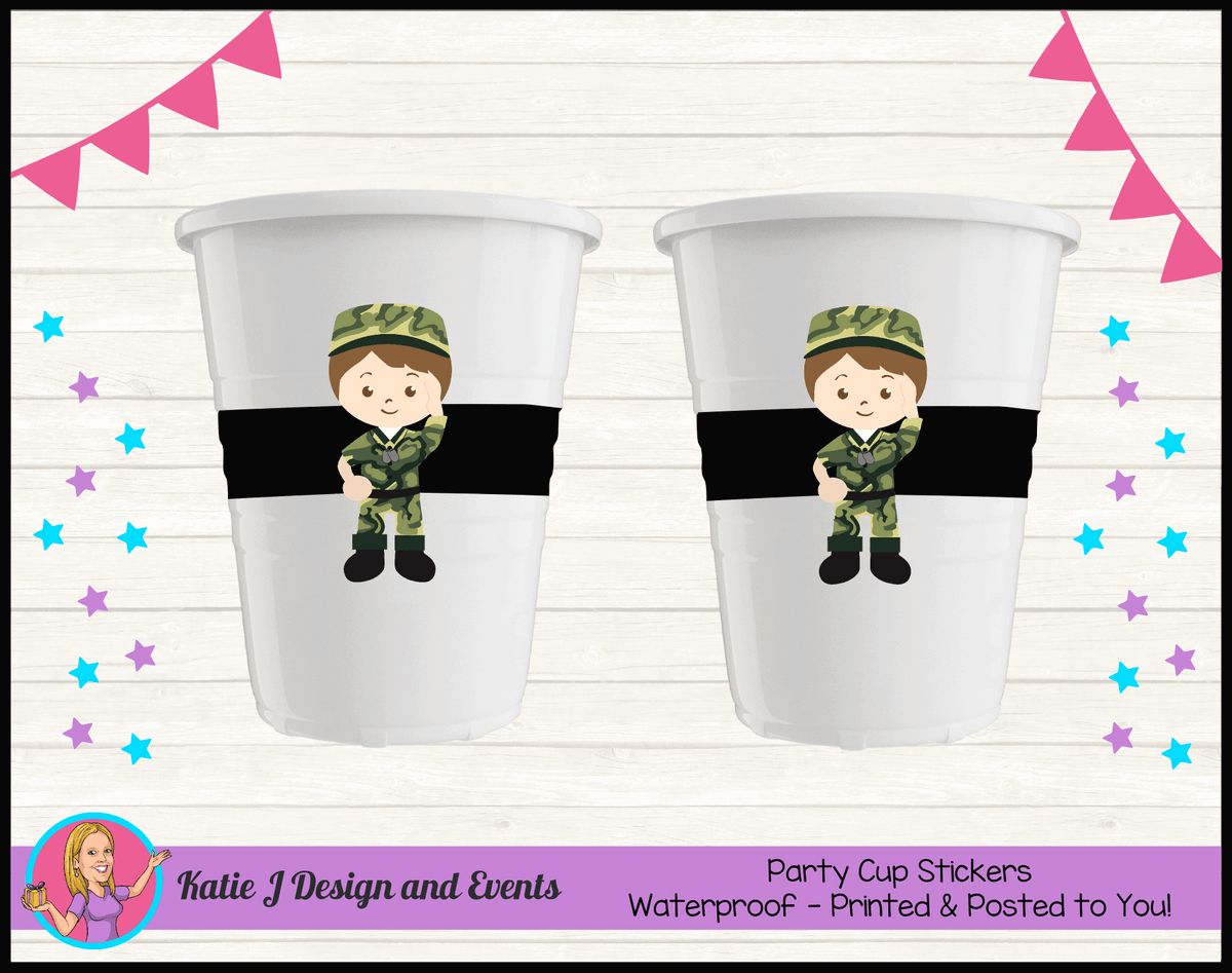 Army Personalised Birthday Party Cup Stickers Cups