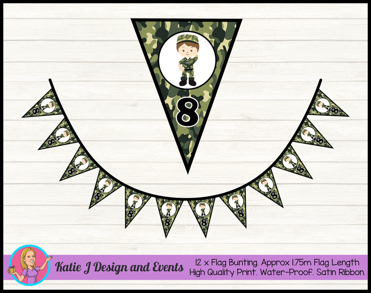 Army Personalised Birthday Party Flag Bunting