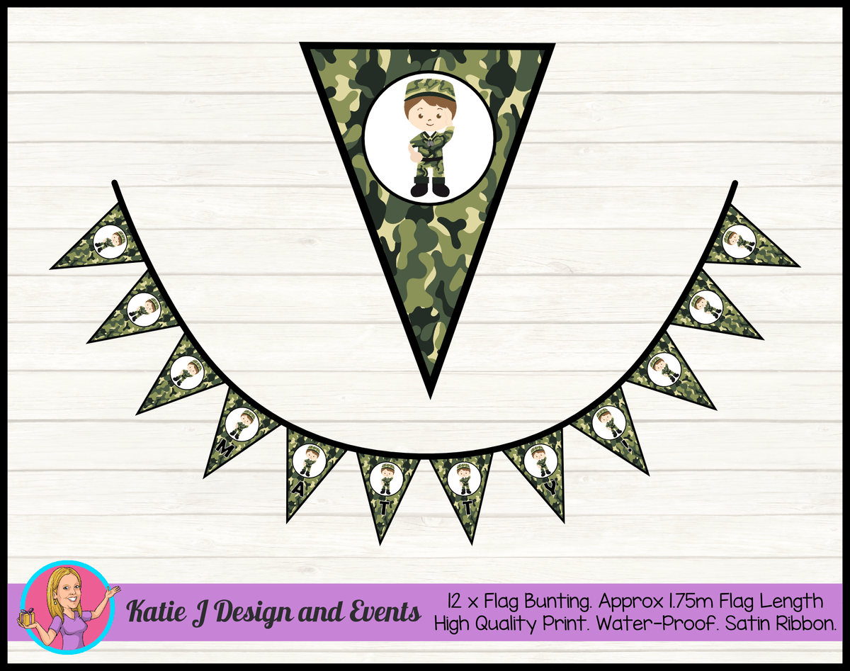 Army Personalised Birthday Party Flag Bunting Name
