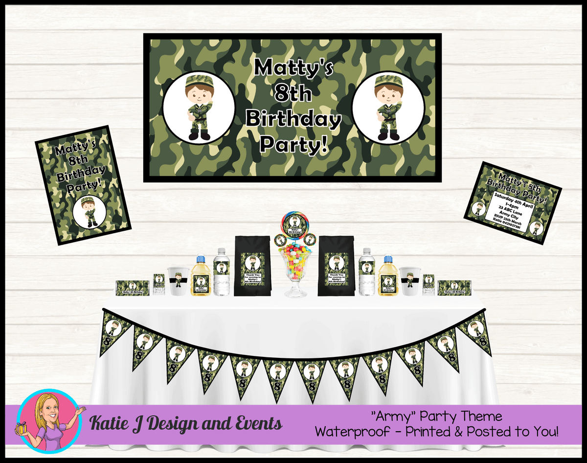 Army Camouflage Personalised Party Packs Decorations Supplies