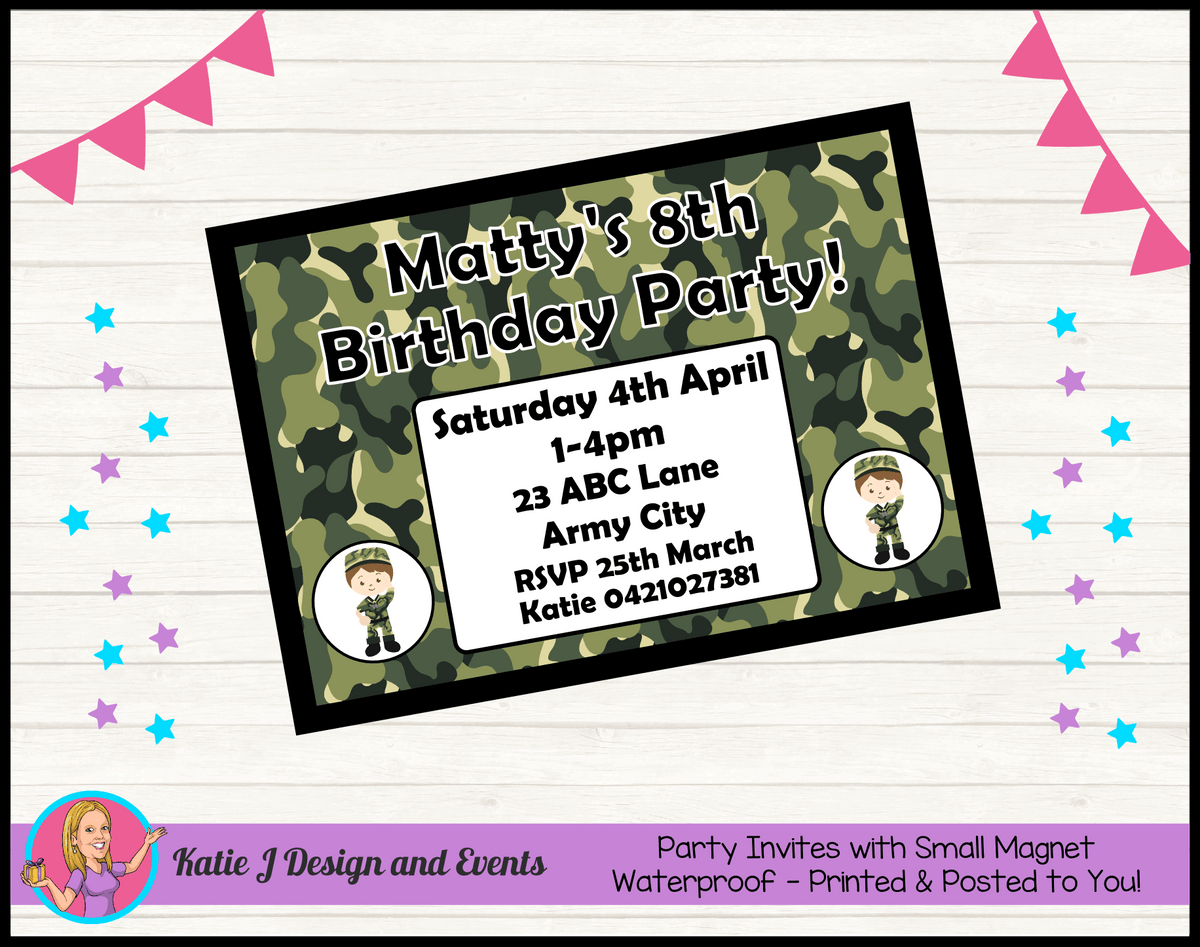 Army Personalised Birthday Party Invites Invitations