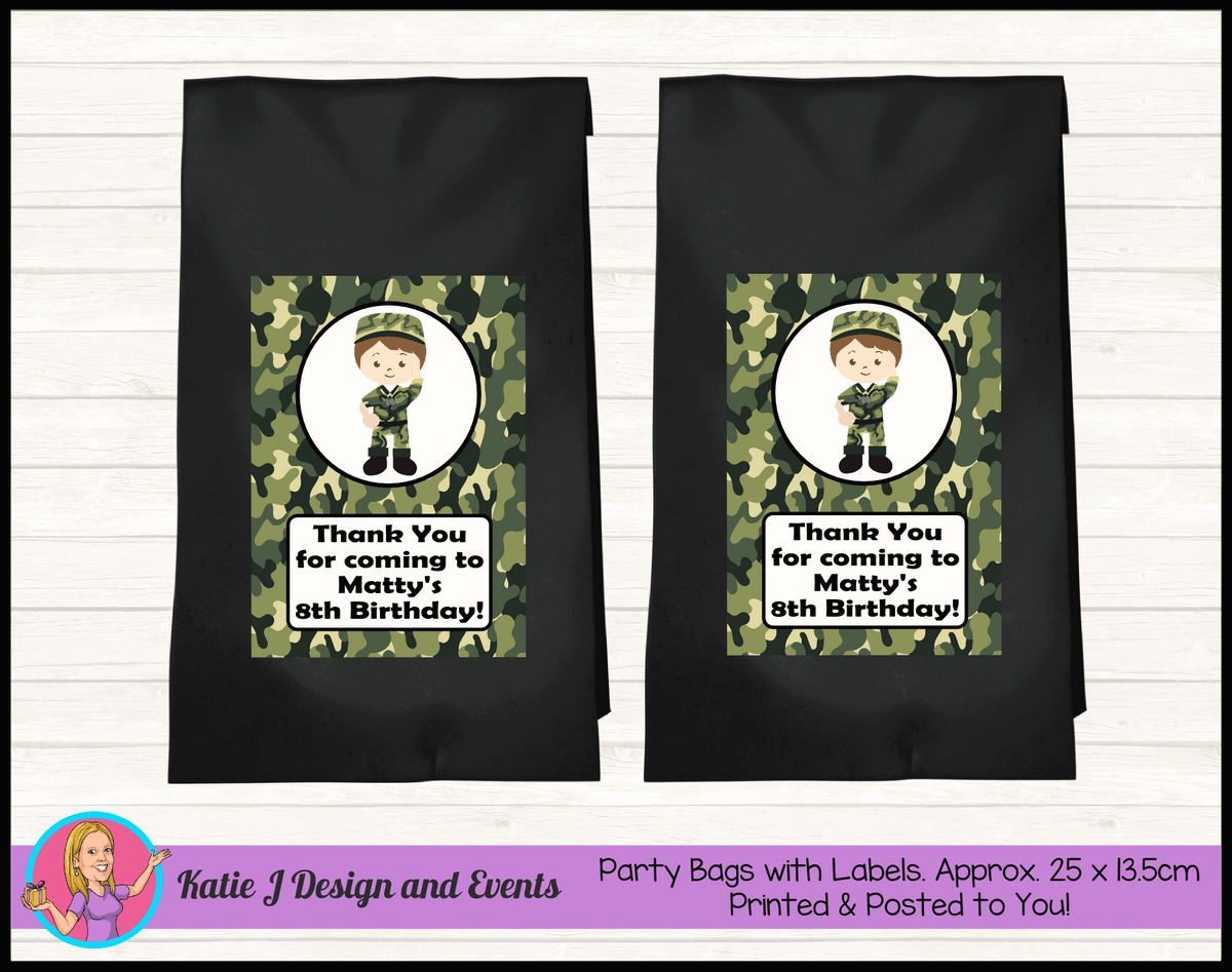 Army Personalised Birthday Party Loot Bags