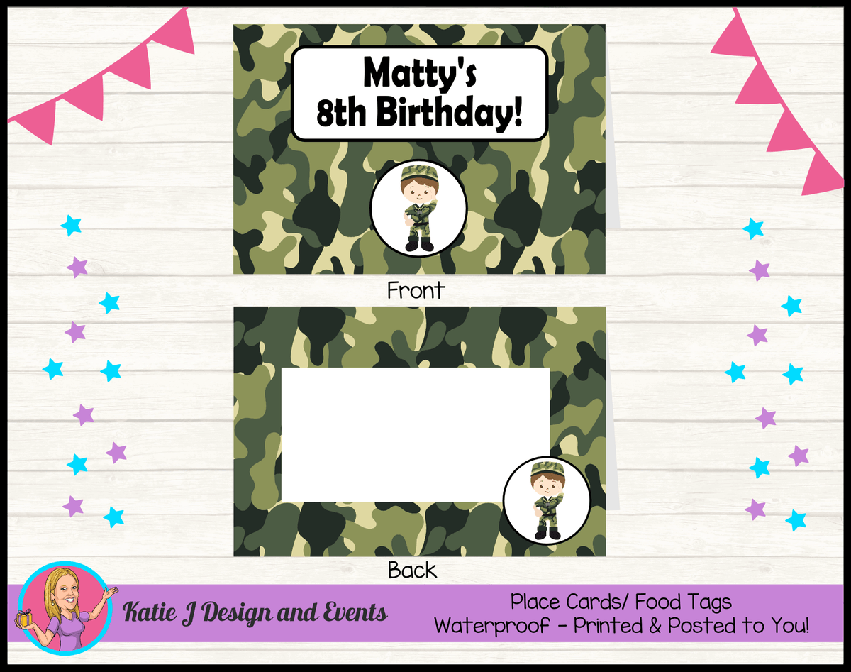 Army Personalised Birthday Party Place Cards