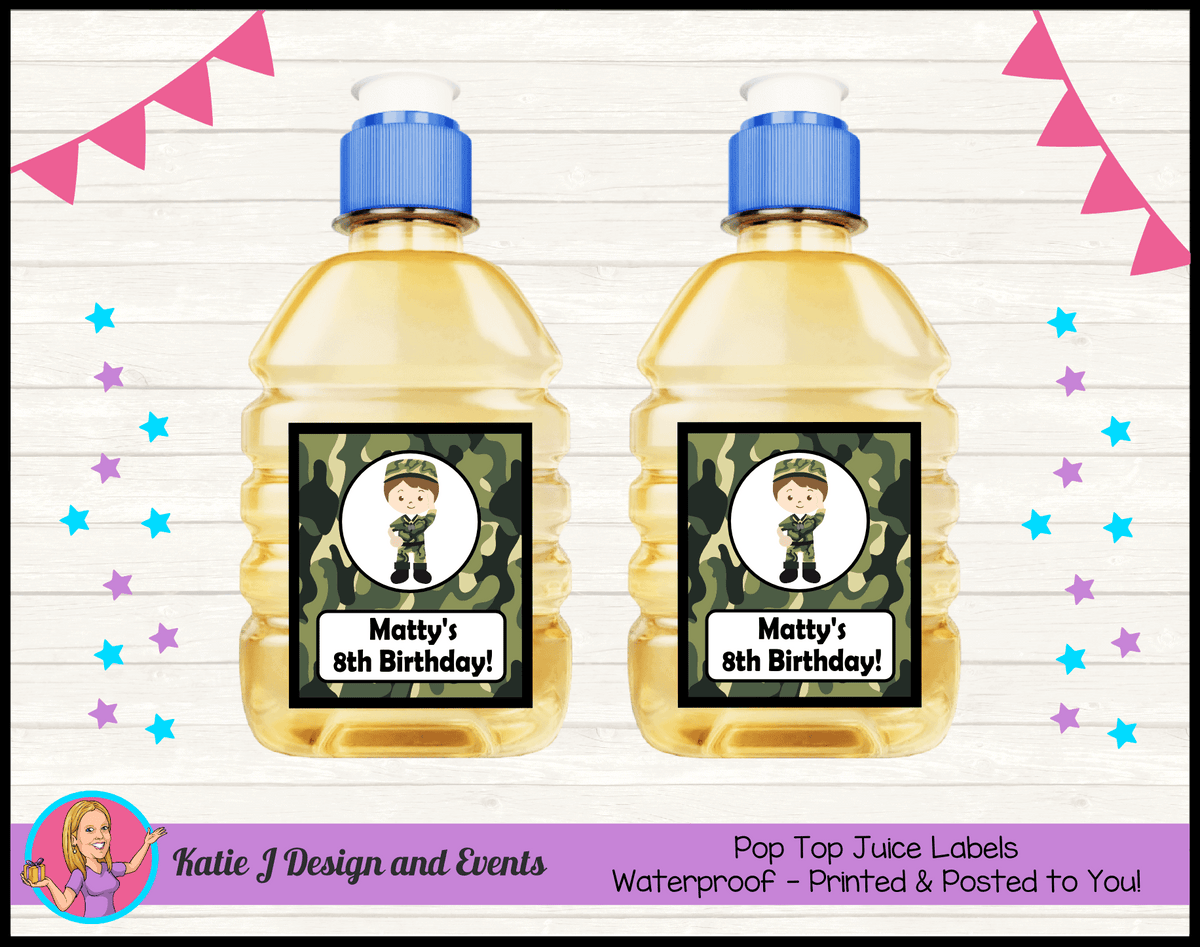 Army Personalised Birthday Party Pop Top Juice Labels