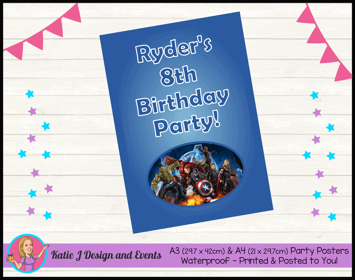 Avengers Personalised Birthday Party Posters
