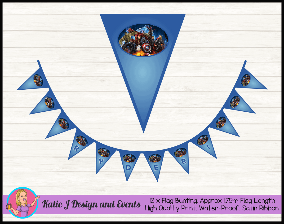 Avengers Personalised Birthday Party Flag Bunting Name