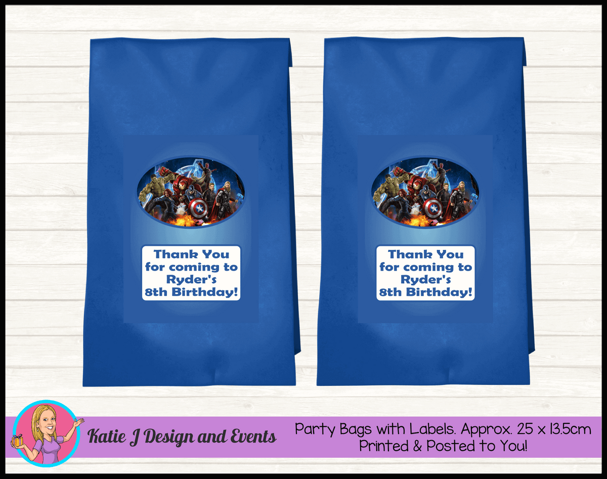 Avengers Personalised Birthday Party Loot Bags