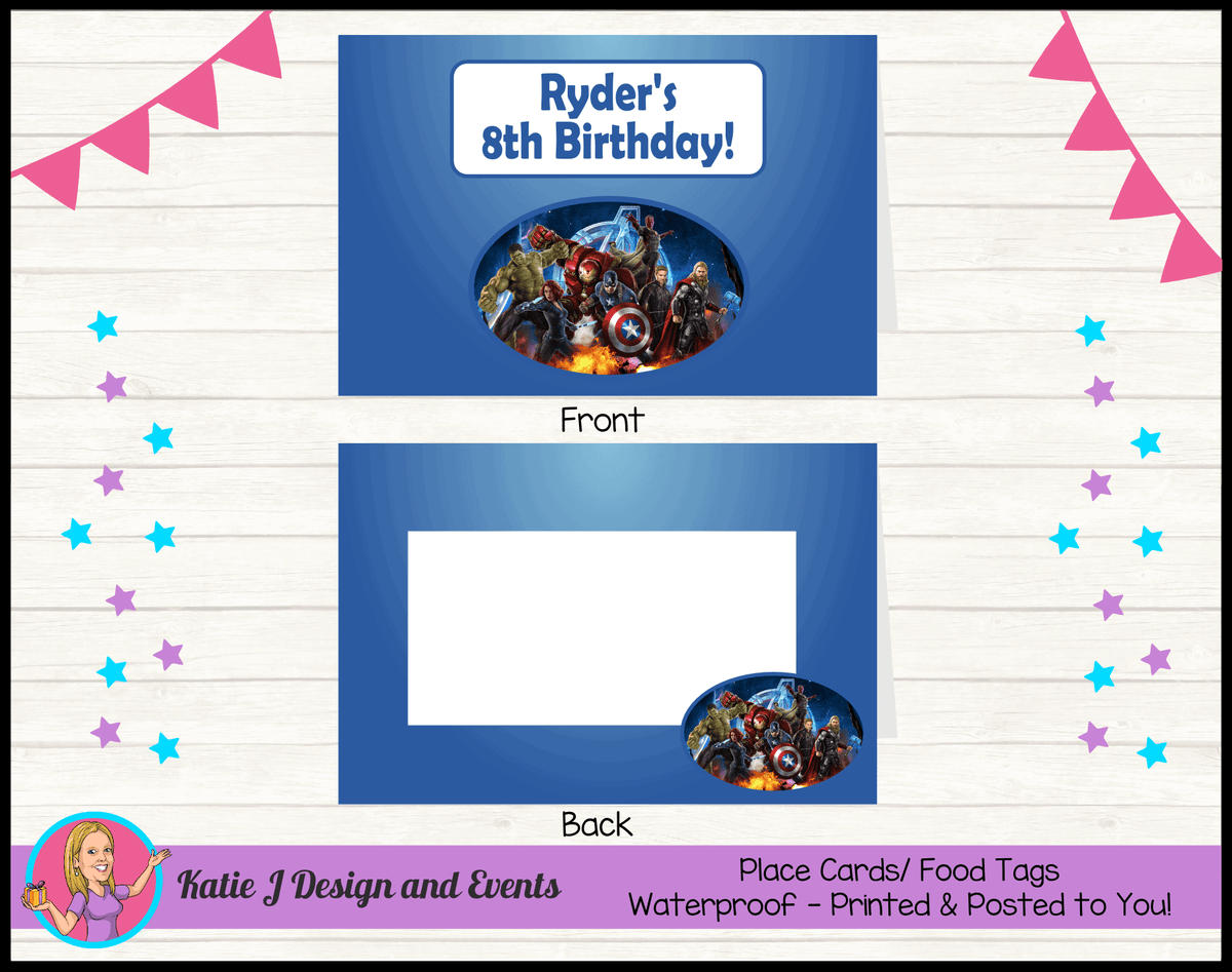 Avengers Personalised Birthday Party Place Cards