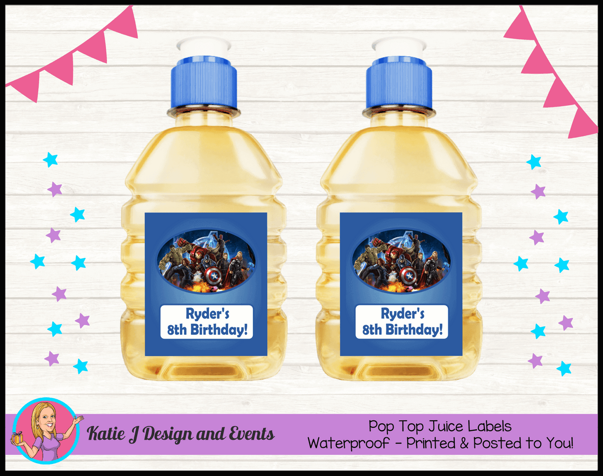 Avengers Personalised Birthday Party Pop Top Juice Labels