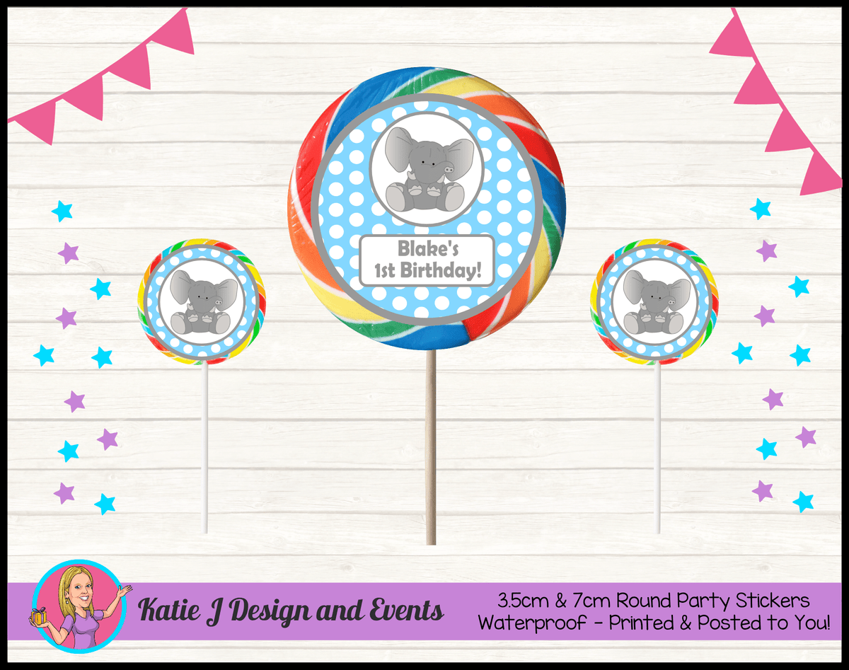 Blue Polka Dot Elephant Personalised Birthday Party Round Lollipop Stickers