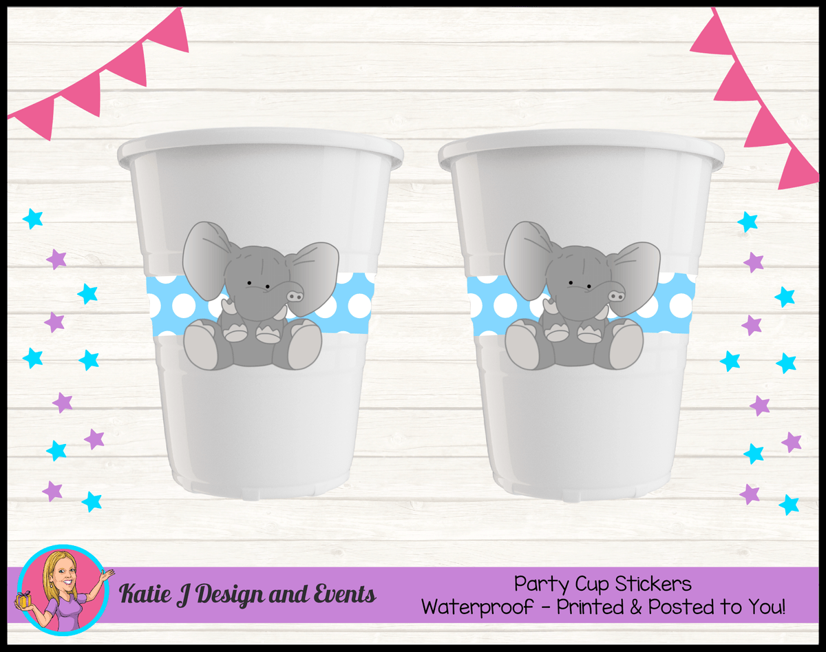 Blue Polka Dot Elephant Personalised Birthday Party Cup Stickers Cups